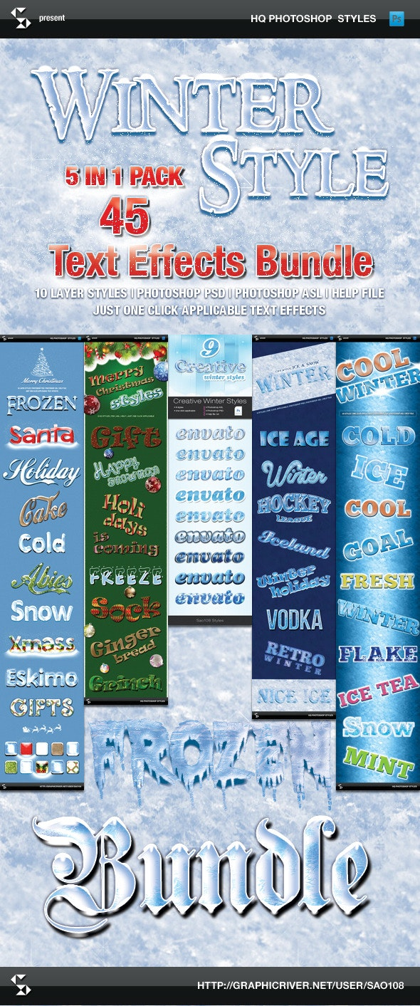 Winter Style Text Effects - Bundle - Text Effects Styles