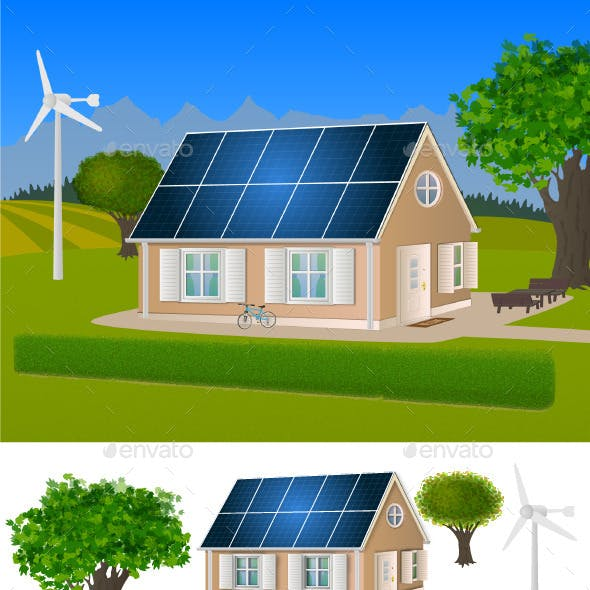 Eco House with Solar Panels and Wind Turbine