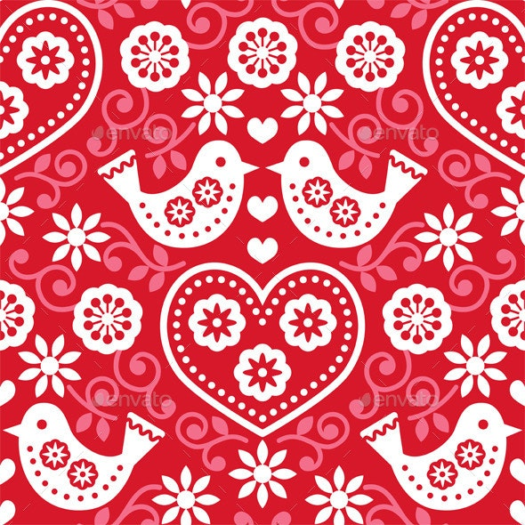 Folk Art Red Seamless Pattern with Birds - Patterns Decorative