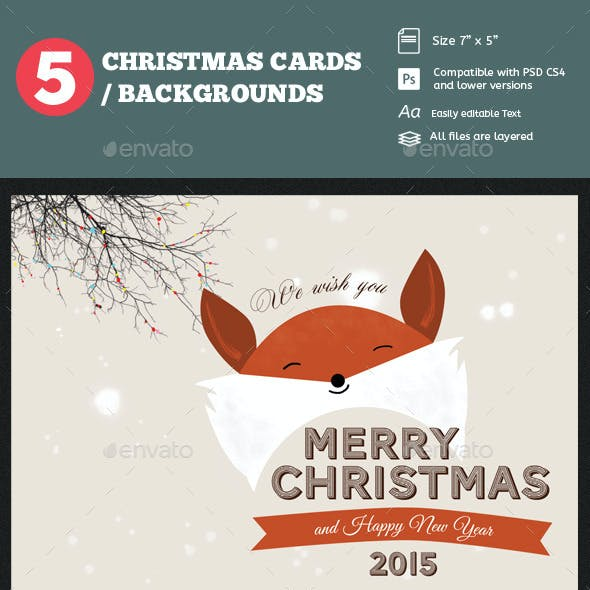 5 Christmas Cards Psd/ Backgrounds