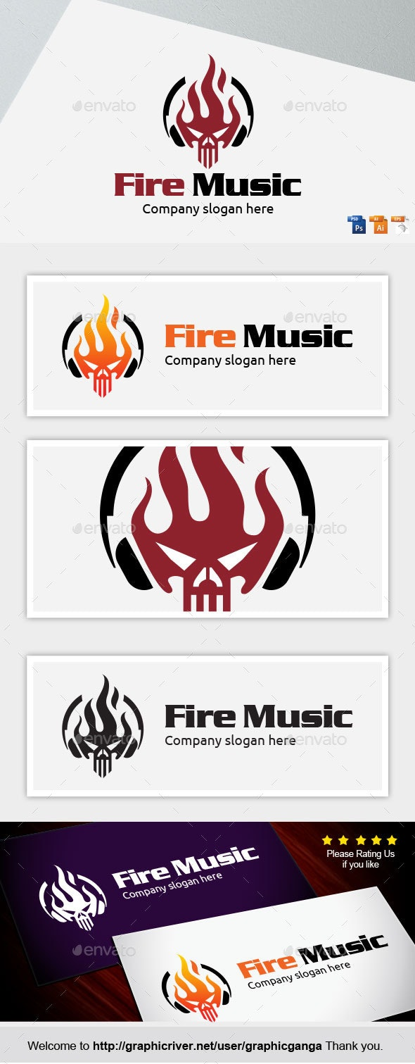 Fire Music - Abstract Logo Templates