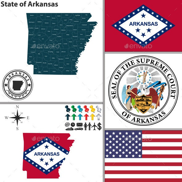 Map of State Arkansas, USA - Travel Conceptual
