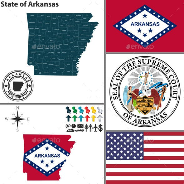 Map of State Arkansas, USA