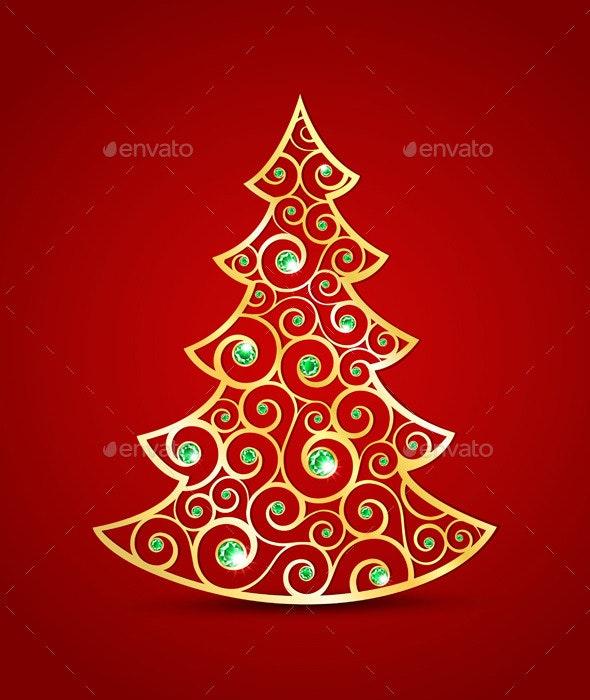 Gold Christmas Tree - Christmas Seasons/Holidays