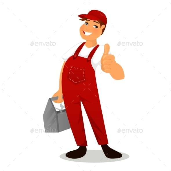 Plumber in Red Overalls