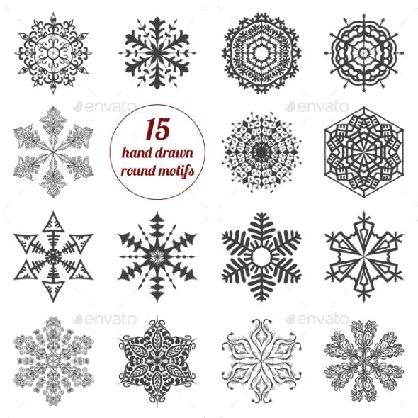 Set of Abstract Round Design Elements