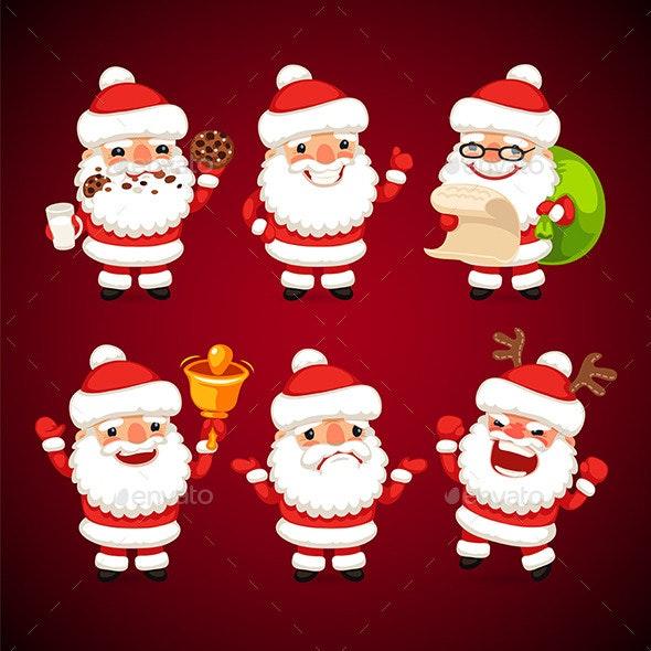 Set of Cartoon Santa Claus in Various Poses - Christmas Seasons/Holidays