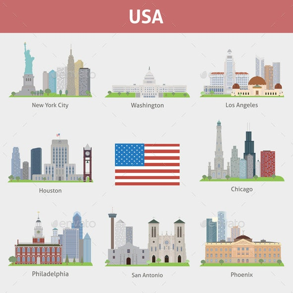 US Cities - Buildings Objects