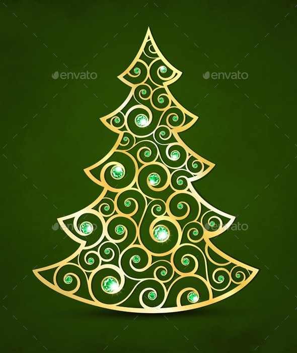 Xmas Golden Tree - Christmas Seasons/Holidays