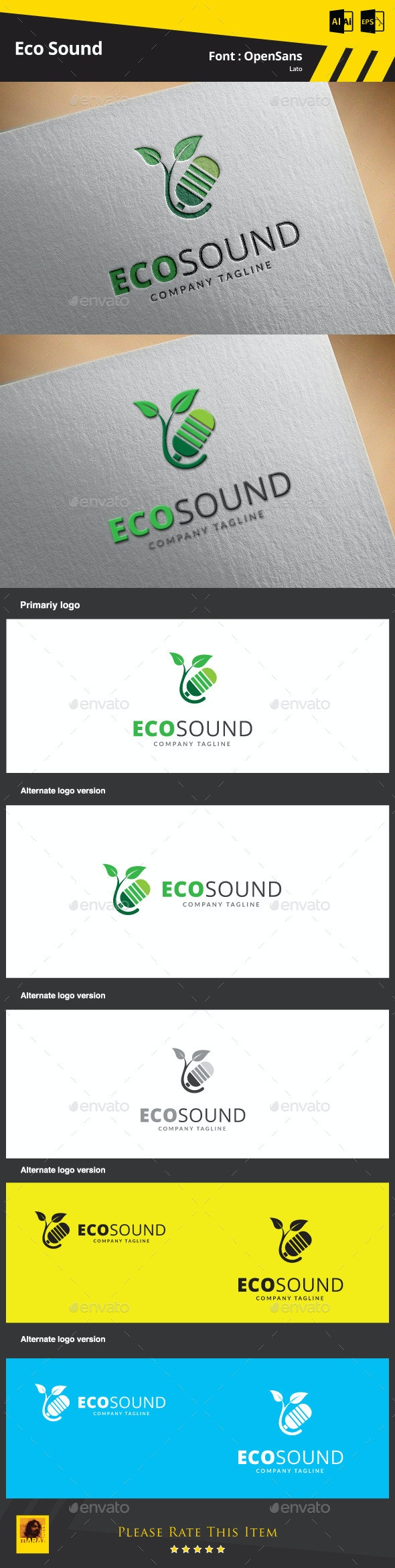 Eco Sound Logo Template - Symbols Logo Templates