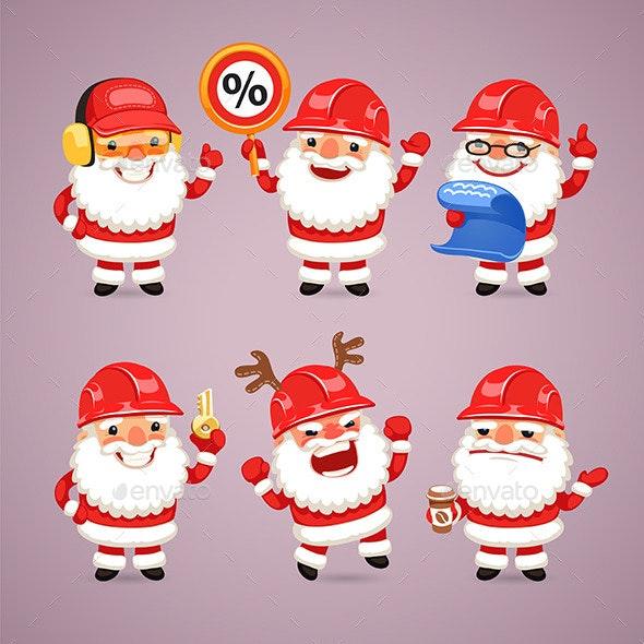 Set of Cartoon Santa Claus Builders - Christmas Seasons/Holidays