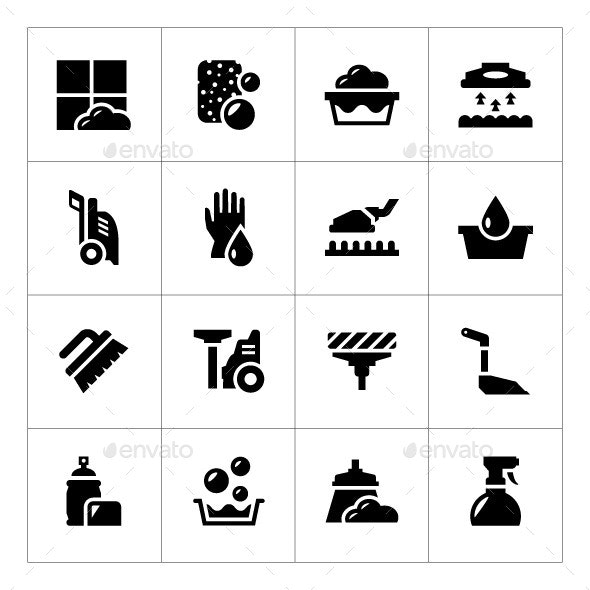 Set Icons of Cleaning - Man-made objects Objects