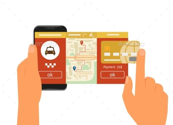 Mobile App for Booking Taxi - Travel Conceptual