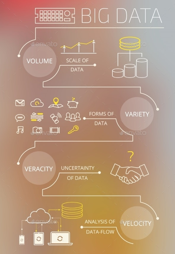 Infographic Contour Illustration of Big Data - Concepts Business