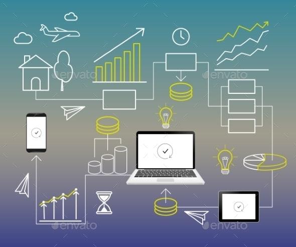 Infographics Contour Elements - Industries Business