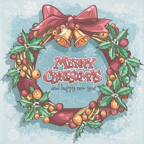 Christmas Card with a Festive Wreath and Bells - Christmas Seasons/Holidays