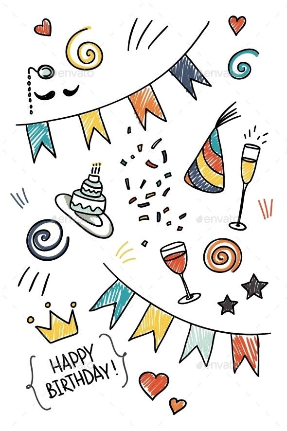 Set of Hand Drawn Doodles - Birthdays Seasons/Holidays