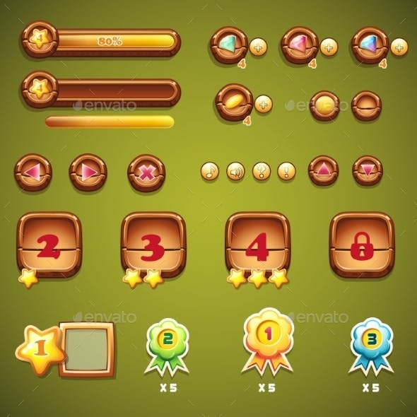 Set of Wooden Buttons, Progress Bars and Elements