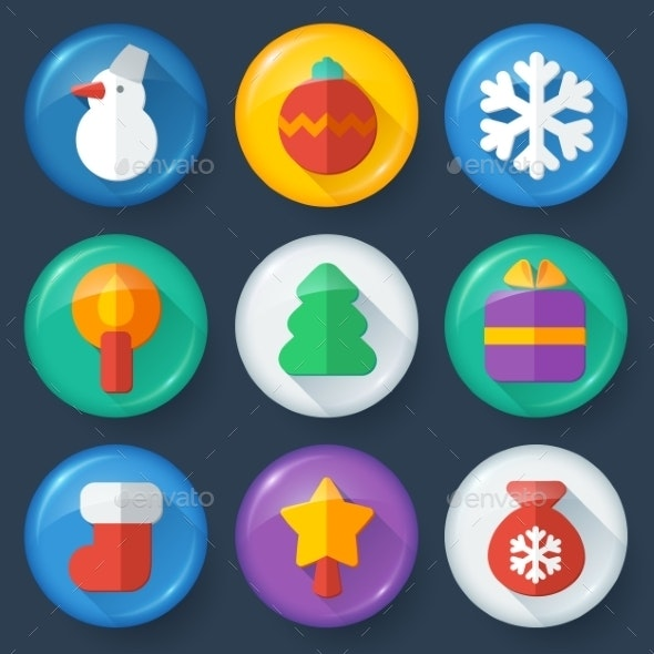 New year vector buttons in glossy flat style - Christmas Seasons/Holidays