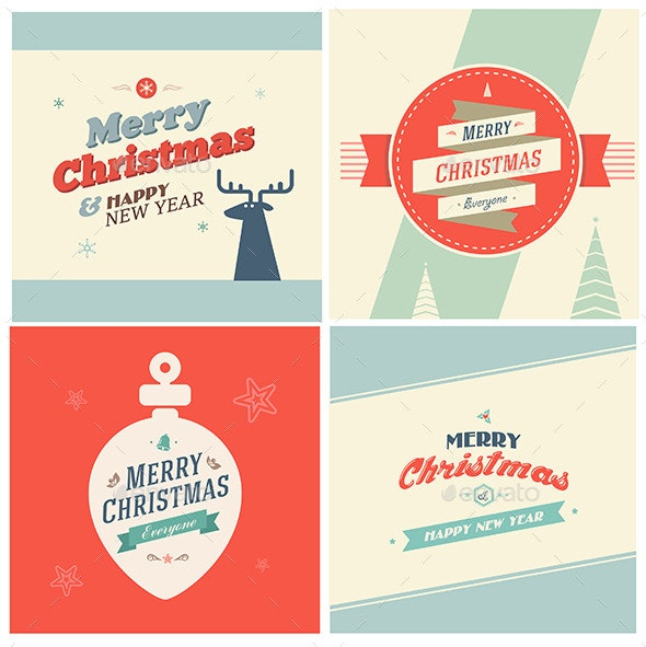 Vintage Christmas Elements With Typography - Christmas Seasons/Holidays