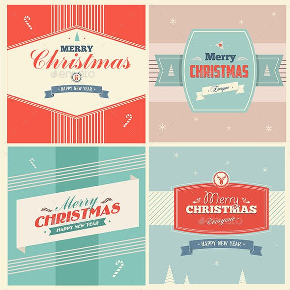 Vintage Christmas Elements With Typography
