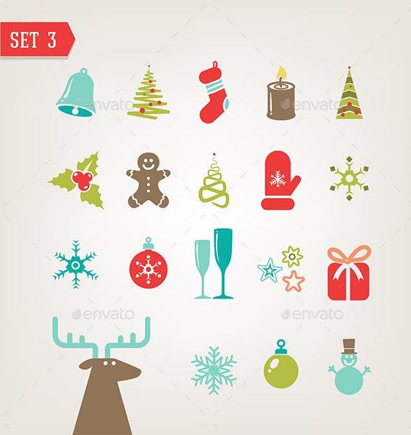 Vintage Christmas icons  - Christmas Seasons/Holidays