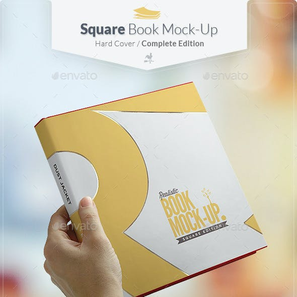 Square Book Mock-up / Dust Jacket Complete Edition