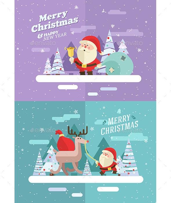 Merry christmas. Vector winter illustration. - Christmas Seasons/Holidays