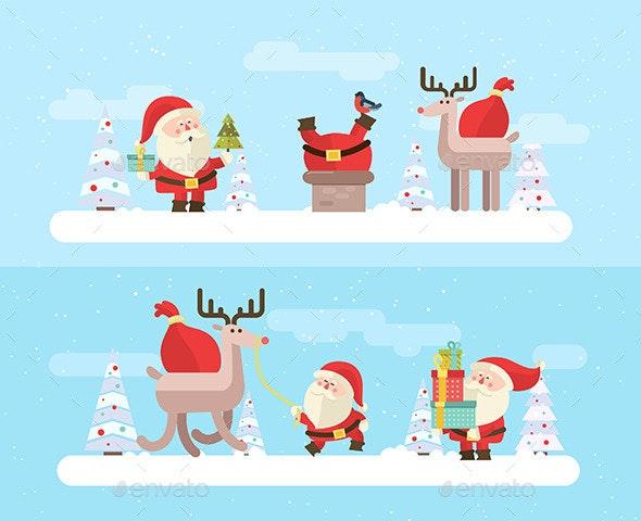 Set characters of Santa Claus - Christmas Seasons/Holidays