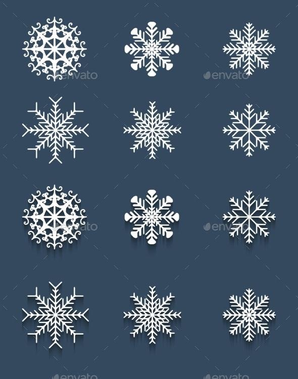 Set of White Snowflakes - Christmas Seasons/Holidays