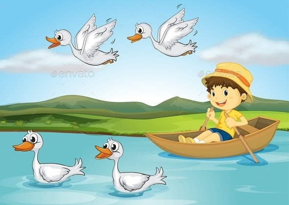 Ducks and a Kid - People Characters