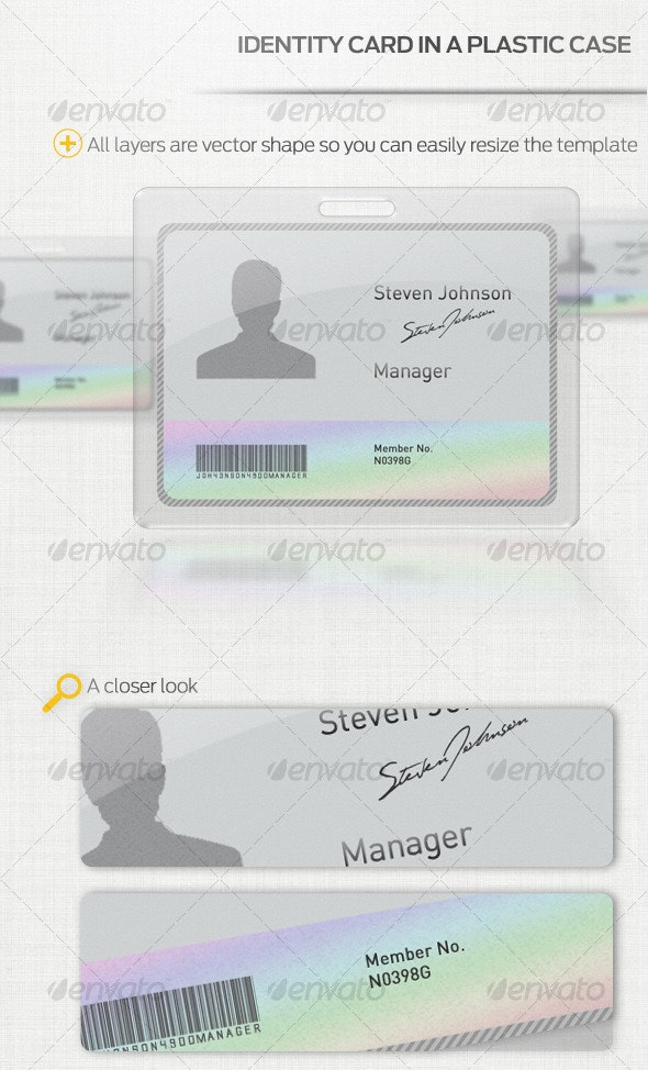 Identity Card with Plastic Case - Miscellaneous Print