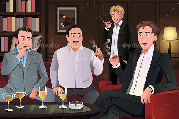 People in a Cigar Lounge - People Characters