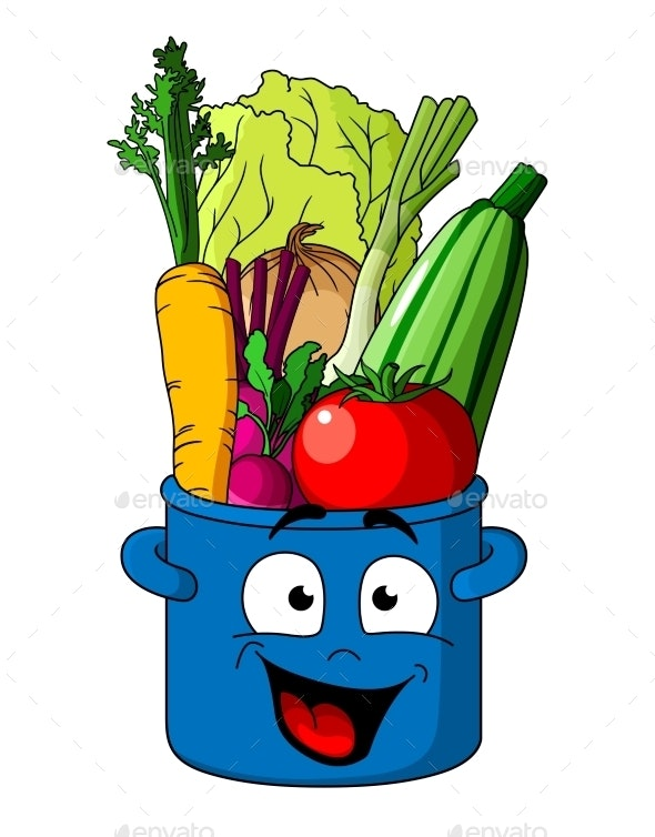 Healthy Fresh Vegetables in Blue Pot - Food Objects
