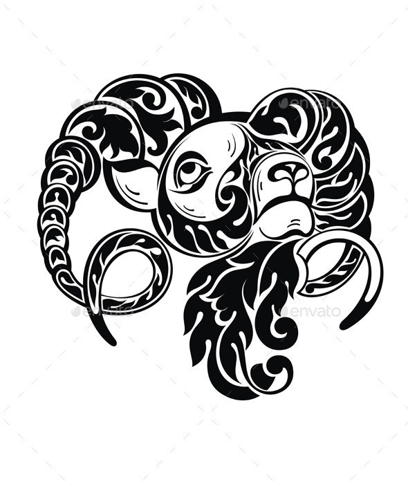 Ram Sheep in Tattoo Style - Animals Characters