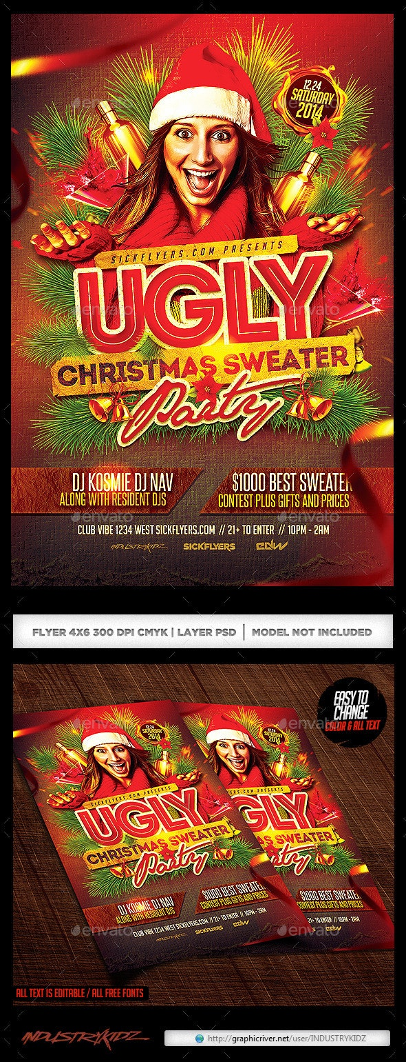 Ugly Christmas Sweater Party Flyer V2 - Holidays Events