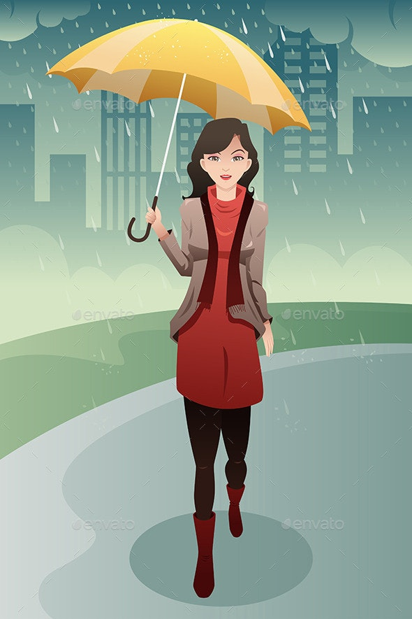 Woman Walking in the Rain - People Characters