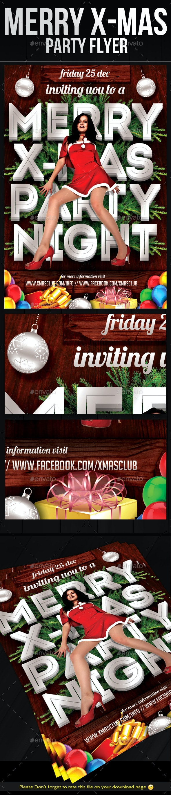 Merry X-Mas Party Flyer Template - Holidays Events