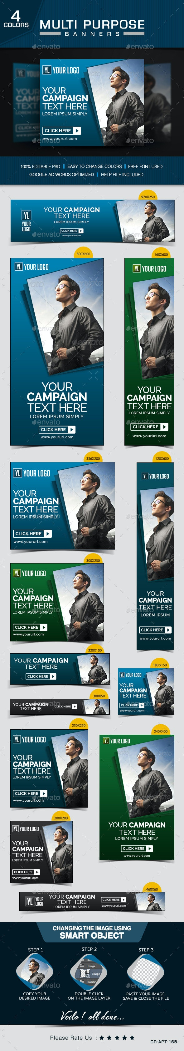 Multipurpose Corporate Banners - Banners & Ads Web Elements