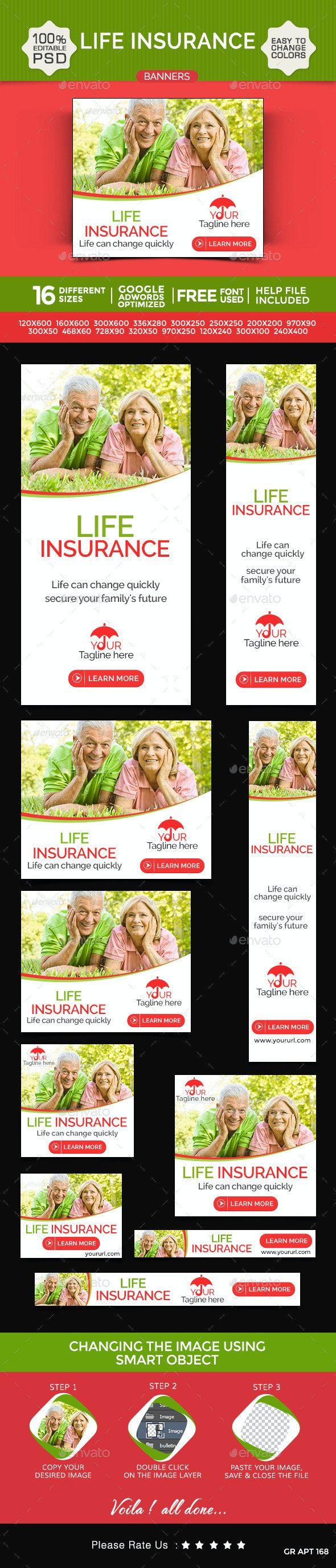 Life Insurance Banners - Banners & Ads Web Elements