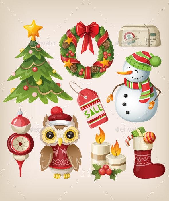 Set of Christmas Items and Characters - Christmas Seasons/Holidays