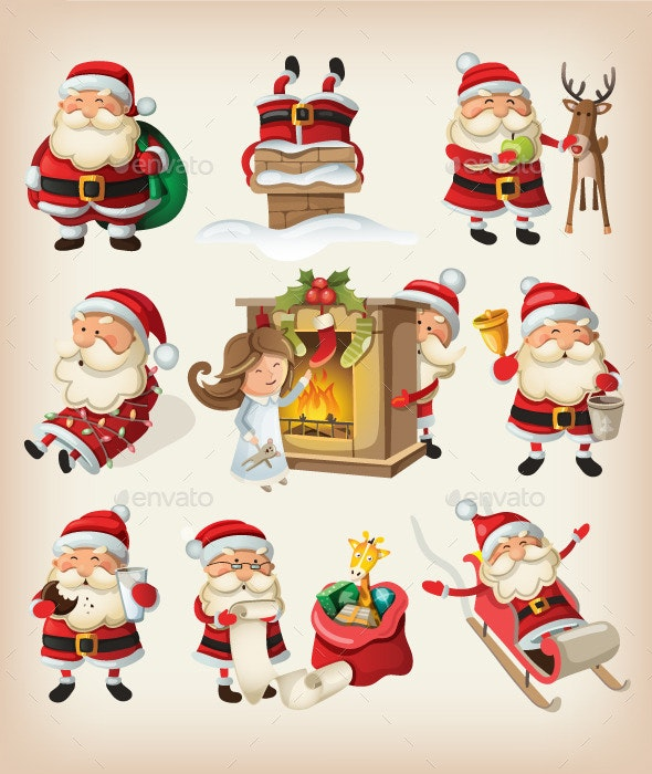 Set of Santa Claus at Christmas - Christmas Seasons/Holidays