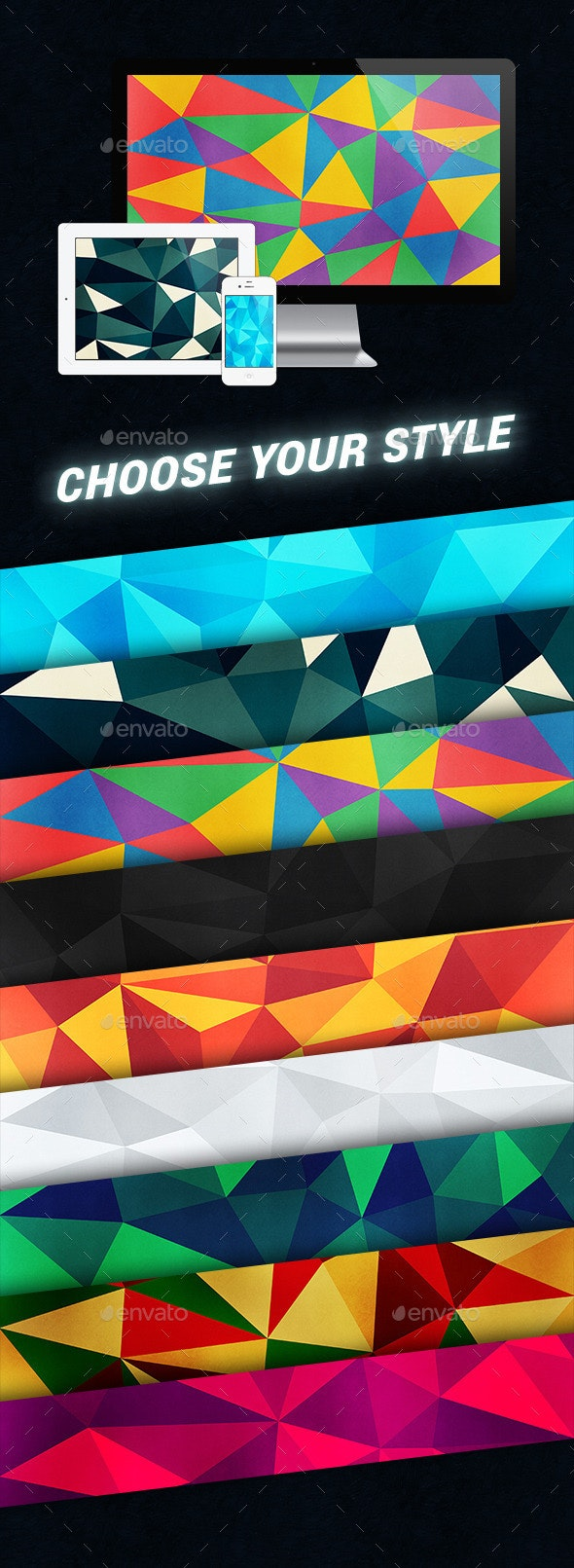 10 Colorful Polygon Backgrounds - Abstract Backgrounds