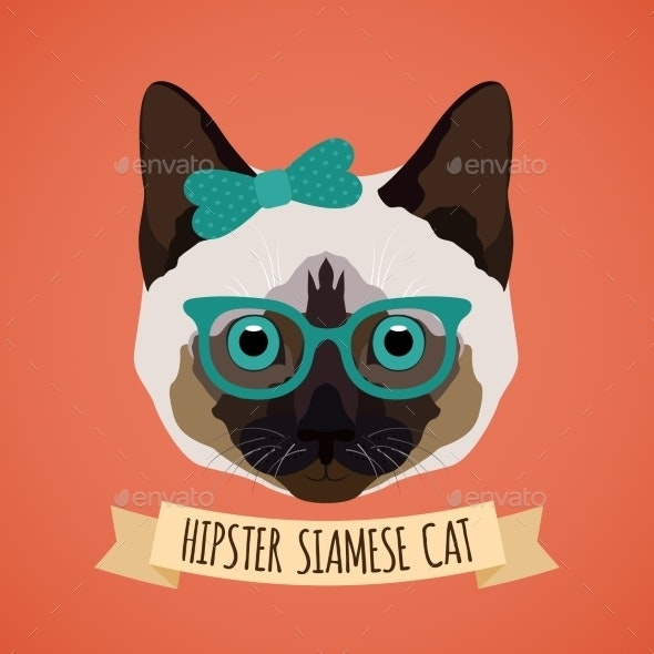 Hipster Cat Portrait - Animals Characters