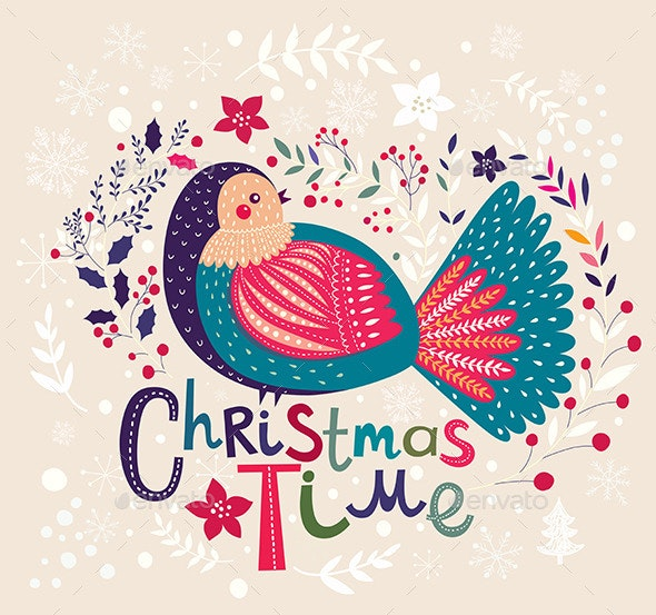 Christmas Card with Bird - Christmas Seasons/Holidays