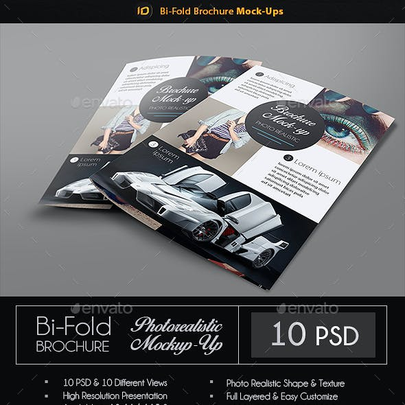 Realistic Bi-Fold Brochure Mock-Up