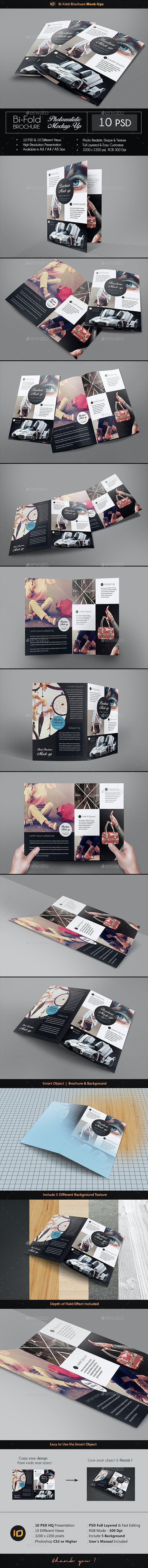 Realistic Bi-Fold Brochure Mock-Up - Brochures Print
