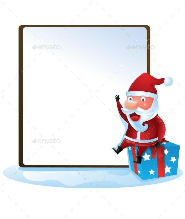 Santa with Sign - Christmas Seasons/Holidays