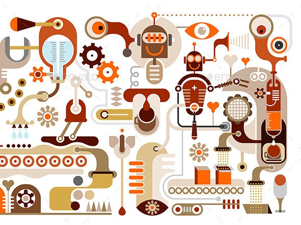 Coffee Factory - Abstract Vector Illustration - Industries Business