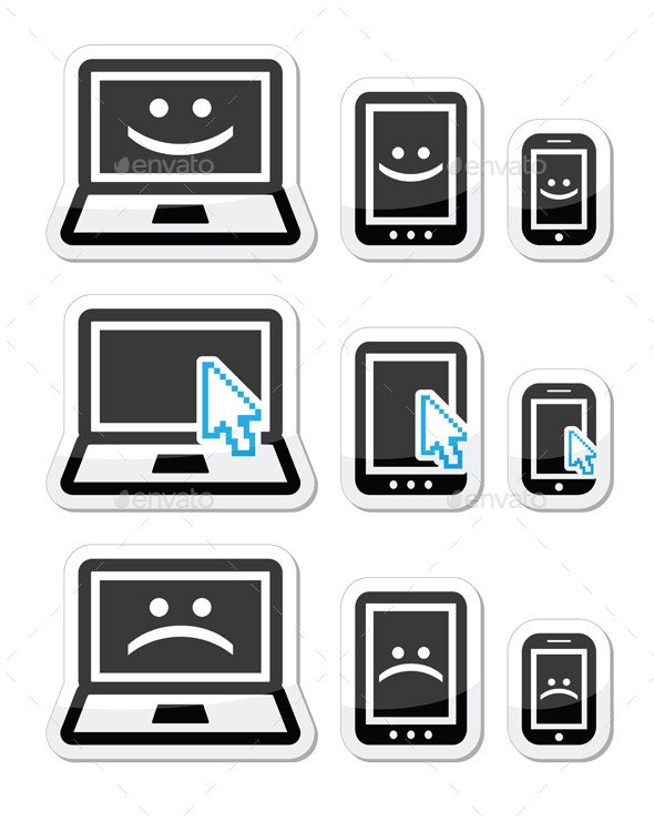 Laptop, Tablet and Phone with Cursor Arrow - Technology Conceptual